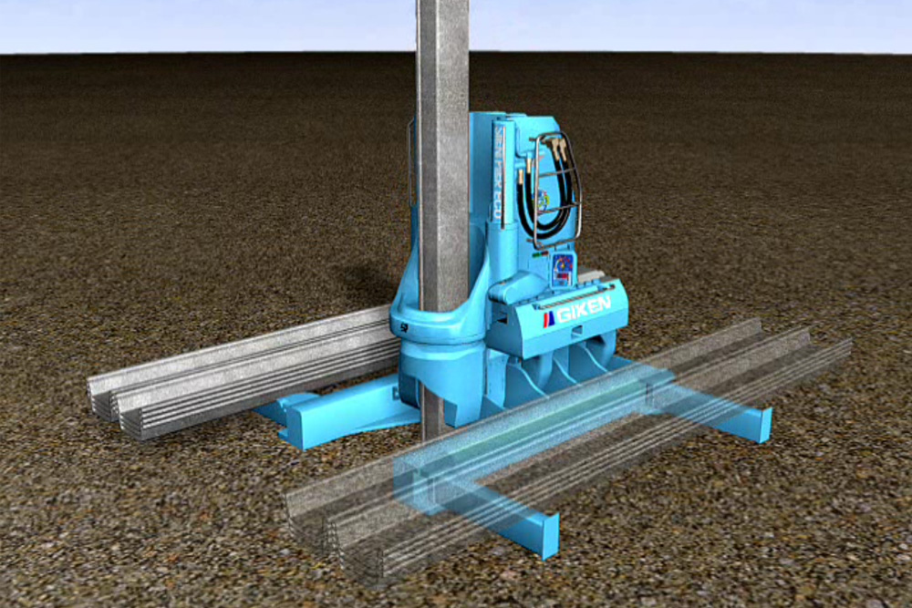 サイレントパイラー圧入工程(初期圧入・自走)