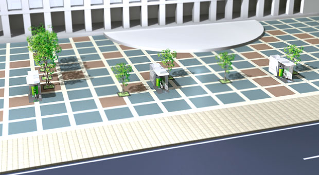 駅やオフィスビル前のオープンスペースに設置して利便性を向上