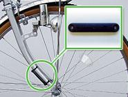 自転車に装着されたICタグ