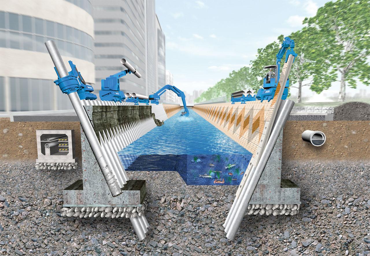 河川・水路の機能強化「インプラント斜杭護岸」 1