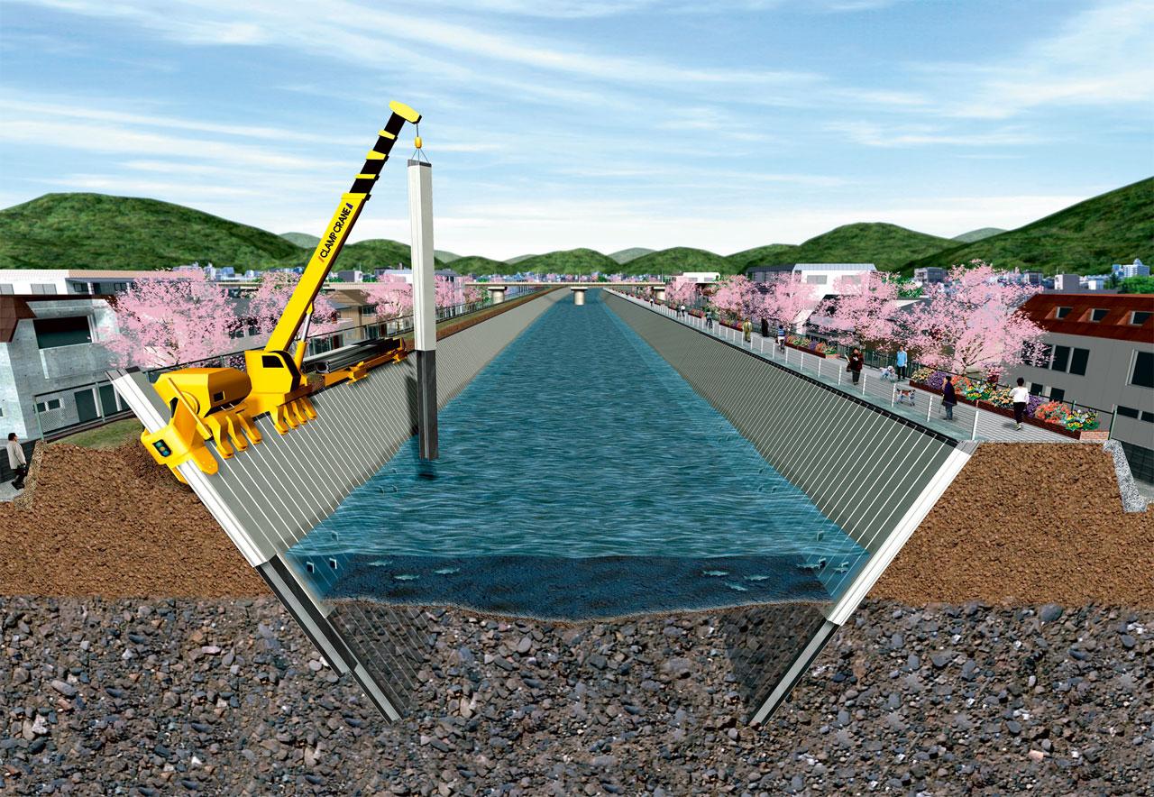 河川・水路の機能強化「インプラント斜杭護岸」 2