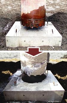 回転切削圧入(ジャイロプレス工法)による鉄筋コンクリート貫通の様子
