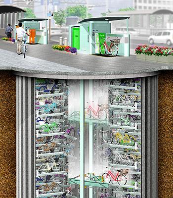 地下駐輪場「エコサイクル」の設置イメージ