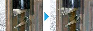 クサビ効果による玉石の粉砕