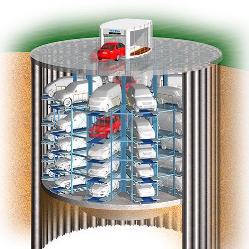 新図書館等複合施設(高知県高知市)に 耐震地下駐車場「エコパーク」1基を建設中
