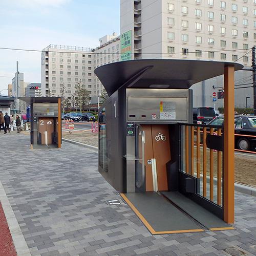 京都駅南口駅前広場に「エコサイクル」3基が完成