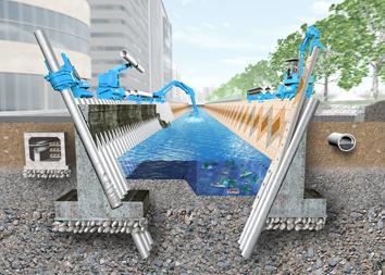 インプラント構造による河川護岸壁改修工事イメージ