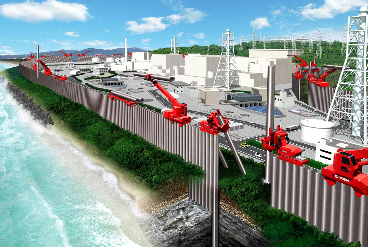 重要施設の津波対策「インプラント防潮・遮水壁」 1