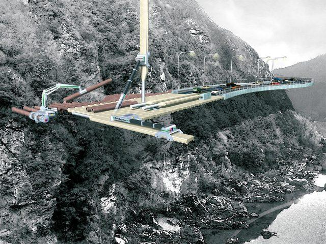 山間部での幹線道路構築