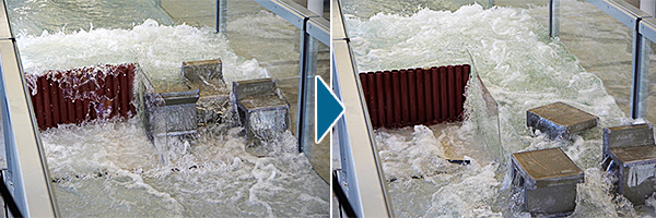 堤防模型を用いた津波実験の実施例②