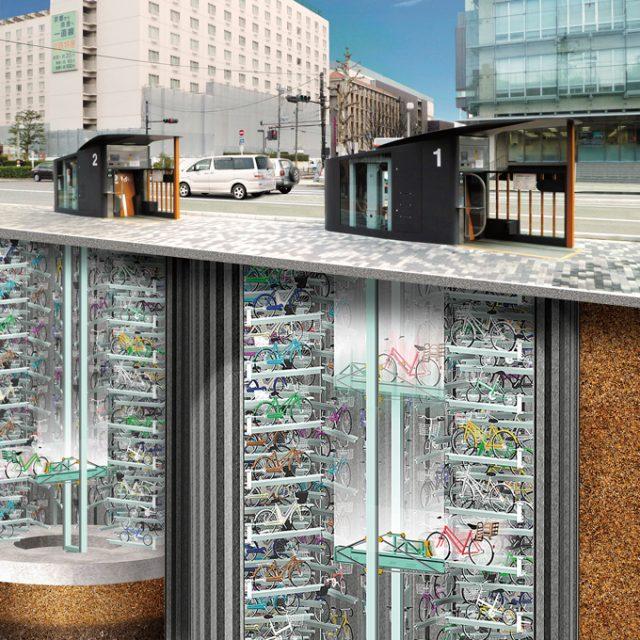 耐震地下駐輪場「エコサイクル」(京都駅前)
