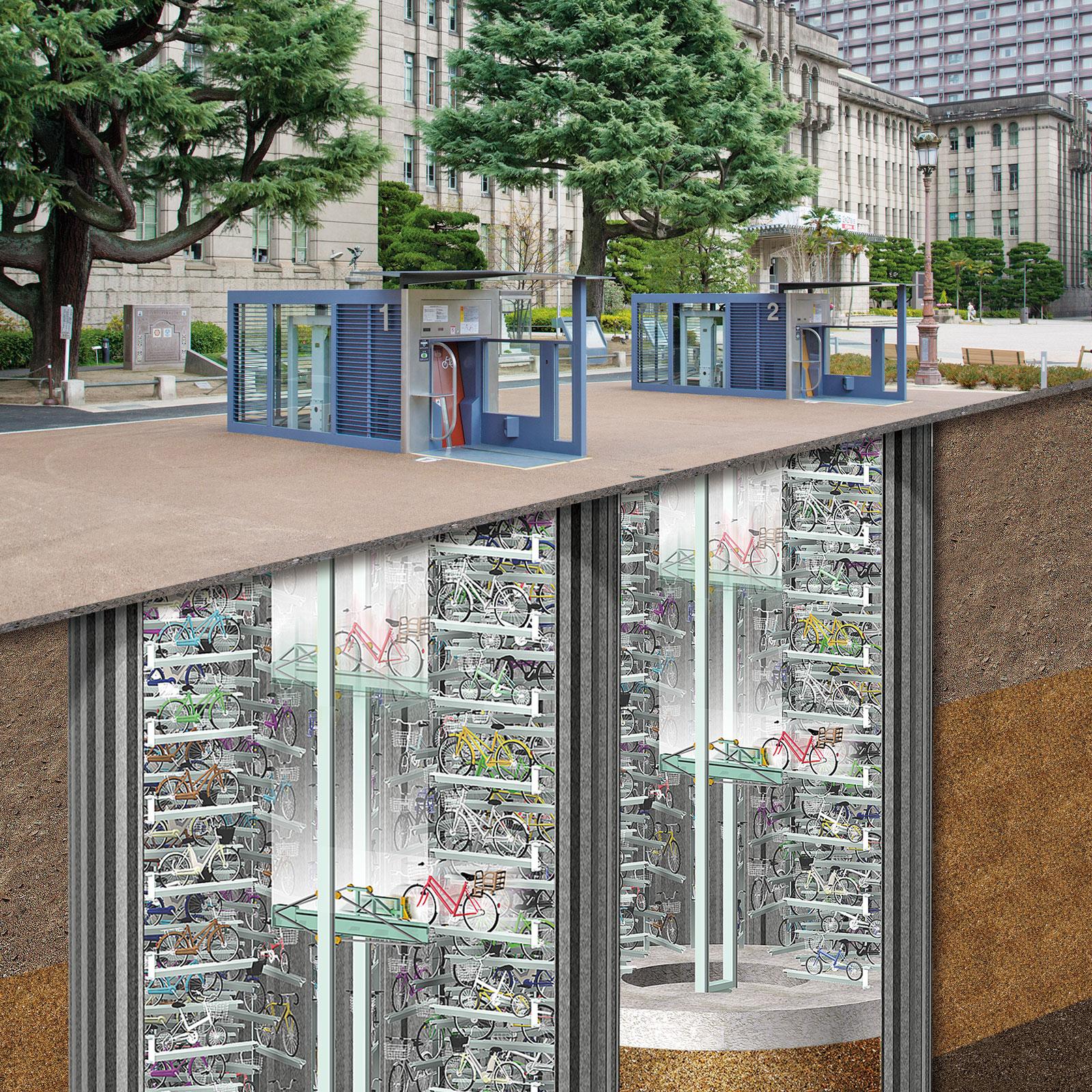 京都市役所前広場に「エコサイクル」2基が完成