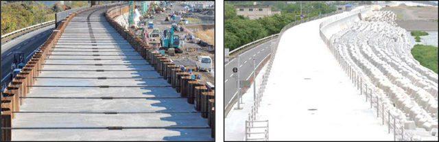 二重鋼矢板による堤防補強の例