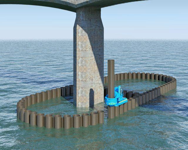 サイレントパイラーによる鋼管矢板井筒基礎構築イメージ